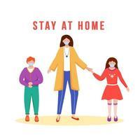 ficar em casa familia vetor