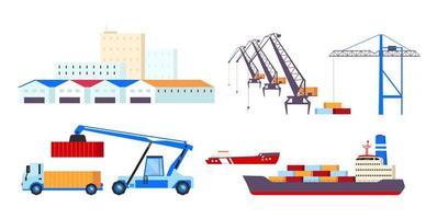 conjunto de objetos de transporte marítimo vetor