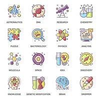 conjunto de ícones planos de pesquisa científica