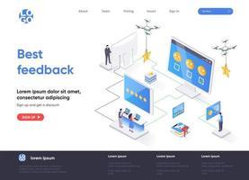 página de destino isométrica de melhor feedback.