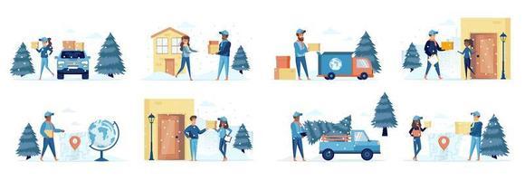 pacote de entrega de inverno de cenas com pessoas vetor