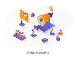 banner de web isométrica de marketing digital.
