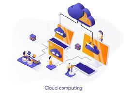 banner de web isométrica de computação em nuvem.