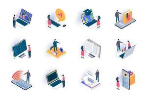 conjunto de ícones isométricos de educação online