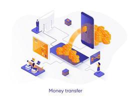 banner de web isométrica de transferência de dinheiro. vetor