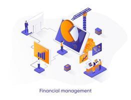 banner isométrico da web de gestão financeira.