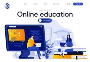 página inicial plana de educação online vetor