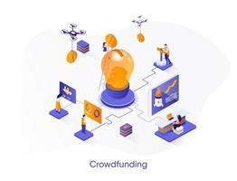 banner de web isométrica de crowdfunding. vetor