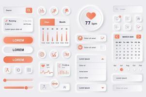 elementos da interface do usuário para aplicativos móveis de fitness. vetor
