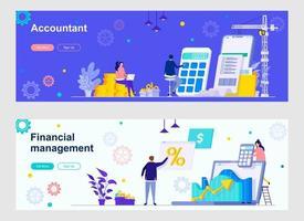 páginas de destino do contador e da gestão financeira vetor