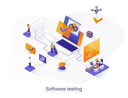 banner de web isométrica de teste de software. vetor