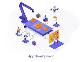 banner de web isométrica de desenvolvimento de aplicativos. vetor