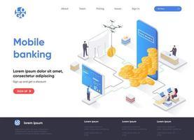 página de destino isométrica do mobile banking vetor