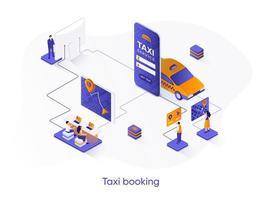 banner isométrica da web de reserva de táxi. vetor