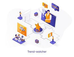 banner de web isométrica de observador de tendências.