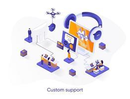 banner de web isométrico de suporte personalizado. vetor