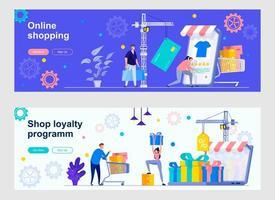 páginas de destino do mercado de compras online com pessoas vetor