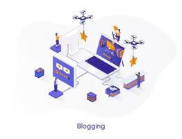 banner de web isométrica de blogging.
