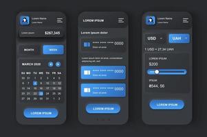 kit de design neumórfico de gestão de finanças pessoais vetor