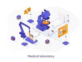 banner de web isométrica de laboratório médico. vetor
