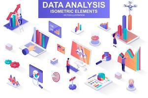 pacote de análise de dados de elementos isométricos. vetor