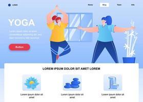página de destino plana de ioga. página da web de mulheres jovens praticando ioga asanas. composição colorida com personagens de pessoas, ilustração vetorial. calma e relaxamento, atividades esportivas e conceito de bem-estar.