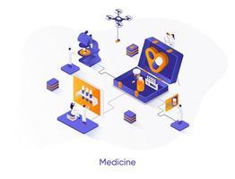 banner web isométrica de medicina. vetor