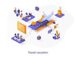 banner web isométrica de férias de viagens. vetor