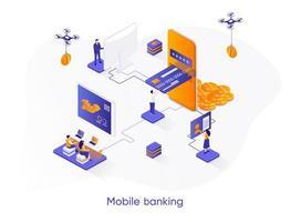 banner de web isométrica de banco móvel.