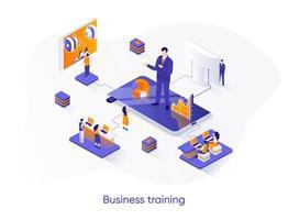 banner de web isométrica de treinamento de negócios.