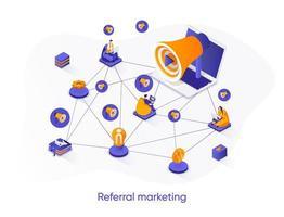 banner de web isométrica de marketing de referência. vetor