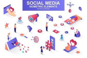 pacote de mídia social de elementos isométricos. vetor