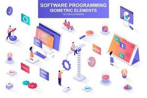 pacote de programação de software de elementos isométricos. vetor