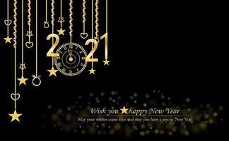 feliz ano novo 2021 design de texto glitter e ouro vetor