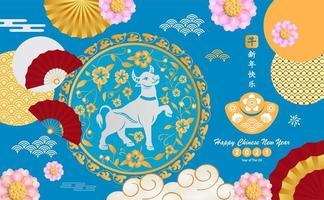 design de ano novo chinês com boi, flor e elementos asiáticos vetor