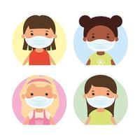 personagens jovens com máscaras faciais