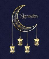 banner de celebração do ramadã com lua dourada vetor