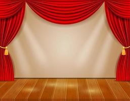 palco de teatro com cortinas vermelhas vetor