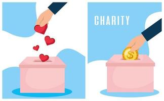conjunto de banner de caridade e doação