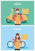 trabalhadores seguros de entrega de comida com sacolas de compras vetor