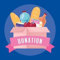 caixa de caridade e doação com comida vetor