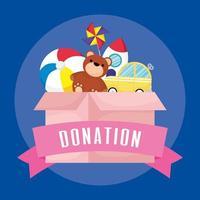 caixa de caridade e doação com brinquedos vetor