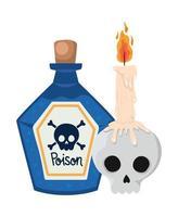 caveira de halloween com desenho de vela e veneno vetor
