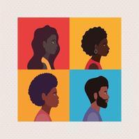 diversidade de desenhos animados femininos e masculinos em quadros vetor