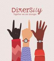 diversidade juntos somos mais fortes e de mãos abertas