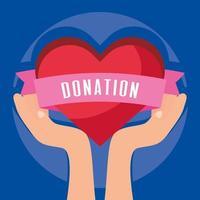 banner de caridade e doação com coração
