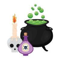 Halloween bruxa tigela caveira e design de veneno vetor