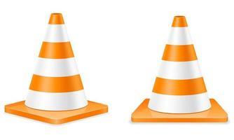 conjunto de cone de trânsito de plástico vetor