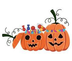 desenhos animados de abóboras de halloween com design de doces