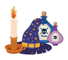 desenho de velas e venenos de chapéu de bruxa de halloween vetor
